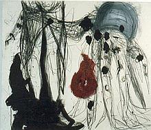ZITKO, OTTO Ohne Titel. 1989. Mischtechnik auf Papier. Holz. 112 x 113