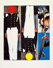 BALDESSARI, JOHN 1931 National City, California - lebt in Los Angeles Two secret figures/Two skateboards. 1995. Farbserigrafie auf FA 5 FABRIANO 50% COTTON (Wasserzeichen). 71 x 60cm (90 x 70cm). Signiert und nummeriert. Württembergischer