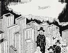 ATTIA, KADER 1970 Dugny/Seine Saint-Denis Ohne Titel. 2006. Tusche auf Büttenkarton (linke Kante perforiert). 32 x 41cm. Rahmen. Provenienz: Galerie Andréhn-Schiptjenko, Stockholm (Aufkleber).