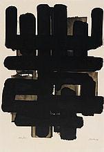 SOULAGES, PIERRE 1919 Rodez Lithographie Nr. 3. 1957. Lithografie auf Velin. 62 x 48cm (71 x 50cm). Signiert und nummeriert. Berggruen, Paris (Hrsg.). Ex. 196/200. - Blatt gebräunt und stockfleckig. Bräunungsflecken. Verso Spuren und Reste alter