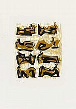 MOORE, HENRY 1889 Castleford/Yorkshire - 1986 Much Hadham Eight reclining figures. 1958. Farblithografie auf Velin. 30 x 25cm (57 x 40cm). Signiert und nummeriert. Kestner-Gesellschaft Hannover (Hrsg.). - Minimale Knickspuren. Bräunungsflecken in