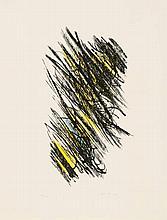 HARTUNG, HANS 1904 Leipzig - 1989 Antibes L 25. 1957. Farblithografie auf BFK RIVES (Wasserzeichen). 47 x 27cm (65,5 x 50cm). Signiert und nummeriert. Marbach, Bern (Hrsg.). Ex. 78/100. - Minimale Knickspuren und Verschmutzungen. Verso Reste alter