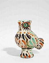 PICASSO, PABLO 1881 Malaga - 1973 Mougins Wood Owl.1969. White stoneware, polychromed and partly glazed. 30,5 x 16 x 25cm. Denoted and numbered underneath: EDITION PICASSO, 231/350. As well as stamp EDITION PICASSO, MADOURA PLEIN FEU. Number 231/350.