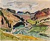 HECKEL, ERICH 1883 Döbeln - 1970 Radolfzell Eifel.1925. Mixed media (watercolour and coloured chalk) on Zanders wove paper (watermark). 51,5 x 62cm. Signed dated, and titled lower right: Heckel 25 Eifel. Framed., Erich Heckel, €8,000