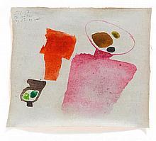 BISSIER, JULIUS HEINRICH 1893 Freiburg - 1965 Ascona/Haguenau 5.6.57 Tourettes. 1957. Tempera on canvas. 18,5 x 22cm. Dated, titled and signed upper left: 5.6.57 Tourettes ..les Bissier. Framed. Inscribed in the frame.