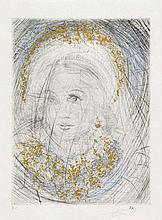 DALÍ, SALVADOR Figueras/Spain 1904 - 1989 Portrait de Marguerite.1968/69. Coloured drypoint etching and roulette on Japan. 31,5 x 23,5cm (38 x 28,5cm). Inscribed. Number H.C. - Verso mounted in the corners.