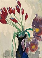 NOLDE, EMIL 1867 Nolde - 1956 Seebüll Flower Still Life with Tulips and Orchids.1935-1939. Watercolour on Japan. 46,7 x 34,4cm. Signed lower right: Nolde. Craftman's frame.