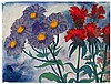 NOLDE, EMIL 1867 Nolde - 1956 Seebüll Purple and Red Blossoms.Ca. 1930. Watercolour on Japan. 34,5 x 45,5cm. Signed lower left: Nolde. Again signed bottom right: Nolde. Framed. - Paper loss (ca. 1 x 1,5cm) on the upper left edge.