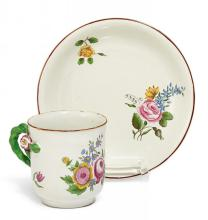 POTTERY CUP WITH SAUCER FLEURS FINES
