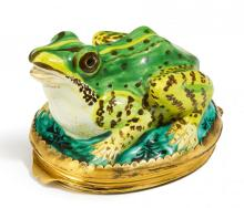 POTTERY FROG MOUNTED AS TABATIERE
