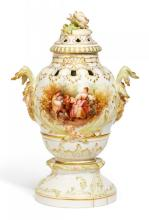 PORCELAIN VASE AND LID WITH WATTEAU SCENE ON THE BASE