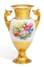 PORCELAIN AMPHORA VASE WITH BOUQUETS OF FLOWERS