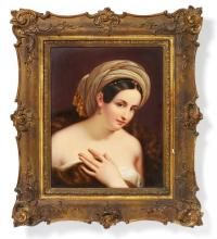 PORCELAIN IMAGE PLATTER 'YOUNG LADY WITH A TURBAN'