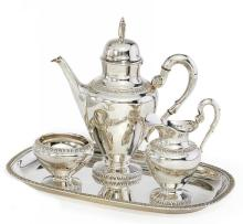 SILVER FOUR PIECE MOCHA SERVICE WITH ASTER LEAF DECORATION