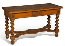 LIME, MAPLE AND CEDARWOOD CONSOLE TABLE IN PATCHWORK STYLE