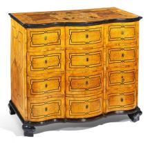 BAROQUE WALNUT, BURR MAPLE, BOXWOOD, PALISANDER COMMODE WITH ALLIANCE COAT OF ARMS