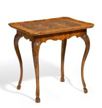 WALNUT, BOXWOOD, BLACK WALNUT, AND MAPLE ROCOCO TABLE WITH COAT OF ARMS