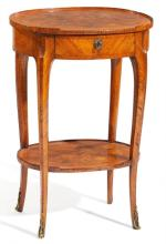 ROSEWOOD, ELM, AND MAPLE GUERIDON TABLE LOUIS XV