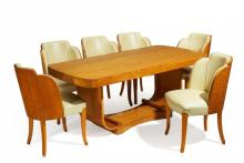BIRD'S-EYE MAPLE TABLE AND SIX CHAIRS ART DECO