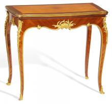 KINGWOOD, PALISANDER, AND MAPLE GAMES TABLE STYLE LOUIS XV