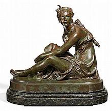 BRONZE OF A SITTING DIANA