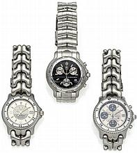 TAG HEUER F1 World Champions Trilogy. Three men's wristwatches Switzerland, ca. 1998 Stainless steel, finished, imprinted and silvered dial, tacheometer, date display. Model West McLaren Mercedes: Automatic. Silver hands/indexes, fluorescent. Weight: