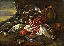 1634 Naples - 1695 Alicante - successorStill Life of Fish in a Broad Landscape.