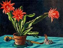 1882 Aussig - 1958 MunichStill Life with Flowering Cactus, Porcelain Figures and Pipe.