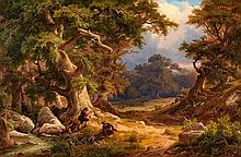 Düsseldorf 1809 - 1874Romantic Forest Landscape with Hunters.