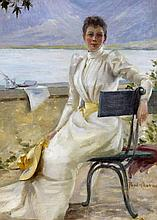 1869 Nantes - 1937 ParisYoung Lady in Front of the Lac d'Annecy.