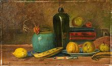 Early 20th CenturyStill Life with a Lemon, Banana and a Pot of Ginger.