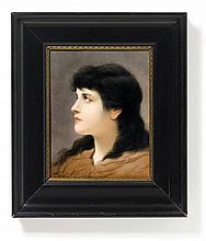 Bildplatte mit Frauenporträt