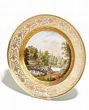 Teller mit Flusslandschaft und Reitern