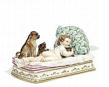 Kind auf Kanapée mit Hunden