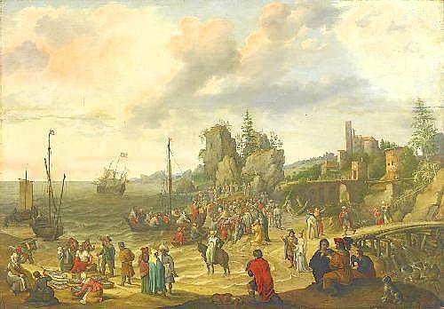 Willaerts, Abraham Utrecht ca. 1603 - 1669  Jesus preaching at lake Genezareth.