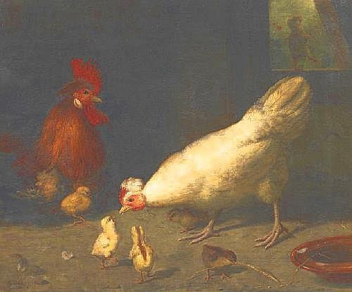 Süs, Gustav 1823 Rumbeck - 1881 Düsseldorf  A chicken family.