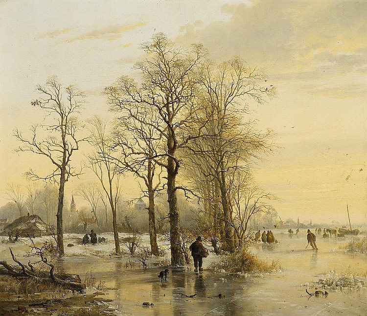 Pieterszen, Abraham van der Wayen 1817 Middelburg - 1880 Maria Hoorebeeke  Countrymen on a frozen river.