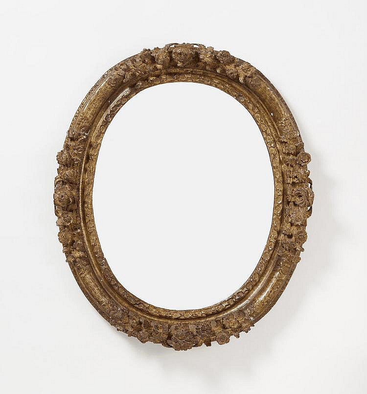 Oval Régence Mirror. France. Circa 1700. Wood,