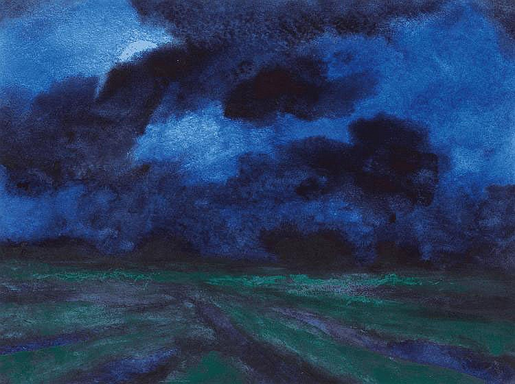 Beck, Herbert 1920 Leipzig Night Landscape. Mixed