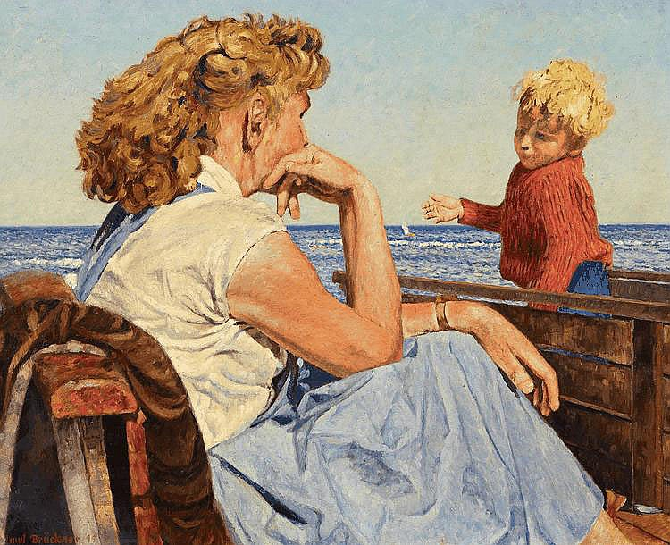 Brückner, Helmut By the Sea. 19(?). Oil on canvas.