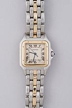 CARTIER. MONTRE d'Homme modèle Panthère en or et acier mouvement à quartz. Années 85/90 vendue en l'état (piles neuves)  Expert Mme Hélène FOUTERMAN.
