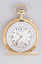 MONTRE de gousset en or jaune 18cts, le cadran émaillé avec double chronomètre pour km à l'heure, pb 91g (boitier du cadran manquant, vendue en l'état)