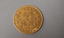 PIECE de 20F or 1817. Lettre date A. A l'effigie de Louis XVIII. Poids 6,4g