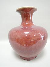 CHINE (XIX°). VASE flammé de forme balustre en porcelaine émaillée  H 29,5cm (restaurations du col à la laque d'or)