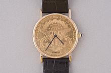 MONTRE d'homme en or jaune de marque Corum modèle Coin Watch, le cadran constitué d'une pièce de 20 dollars or daté 1900.  Bracelet en crocodile. Mouvement à remontage automatique. vendue avec sa boite d'origine