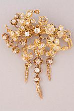 BROCHE fleur en or jaune ornée de brillants et roses pb 26,5g