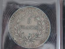 PIECE de 5 Francs AN 13 M Napoléon 1er, état TTB