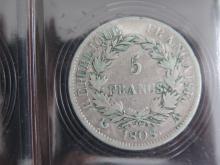 PIECE de 5 Francs 1808 A Napoléon 1er, état TB