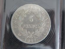 Lot de 2 PIECES : 5 Francs 1811 A Napoléon 1er, état TTB et 2 Francs 1811 A  Napoléon 1er , état TB