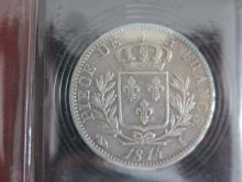 Lot de 2 PIECES : 5 Francs 1815 A Napoléon 1er , état TB+ et de 5 Francs 1814 I Louis 18 , état TB+
